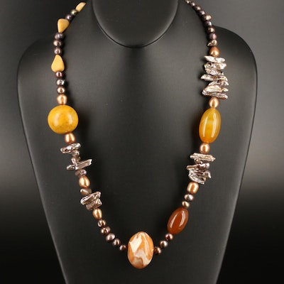Multi-Gemstone Necklace Featuring Agate, Pearl and Calcite