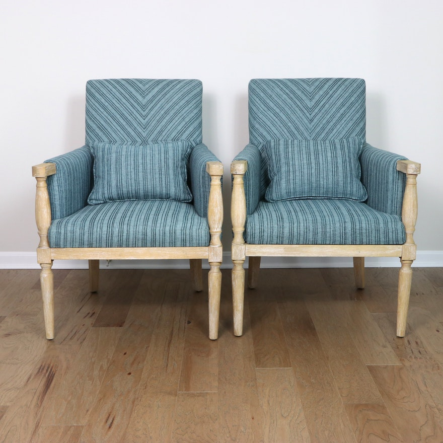 """Pair of Uttermost """"Seamore"""" Wood and Fabric Upholstered Armchairs"""