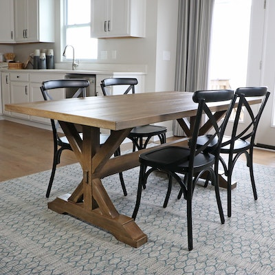E. & E. Company Wooden Trestle Dining Table and Metal Side Chairs