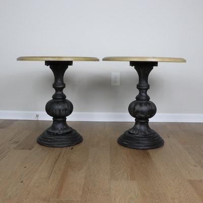Pair of Madison Park Ebonized Wood and Ash Veneered Pedestal End Tables