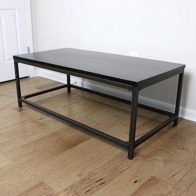 Rectangular Metal and Ebonized Top Coffee Table