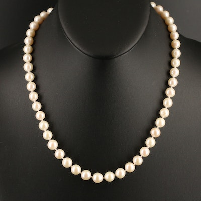 Pearl Necklace with 18K Clasp