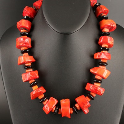 Coral and Obsidian Necklace with Sterling Clasp