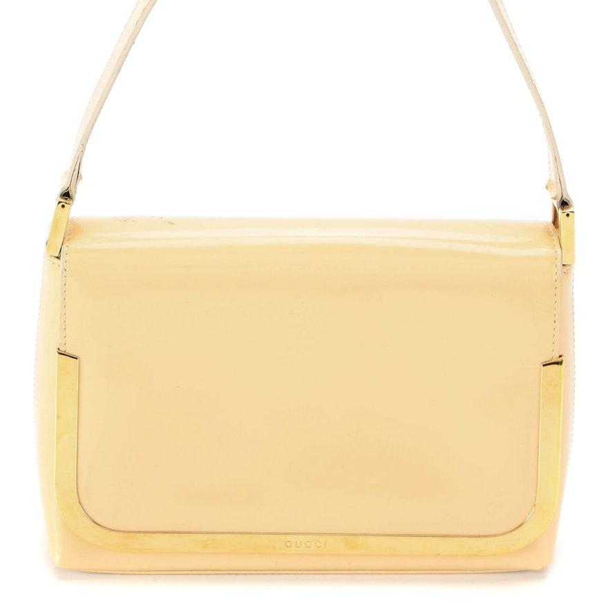 Gucci Beige Patent Leather Front Flap Shoulder Bag