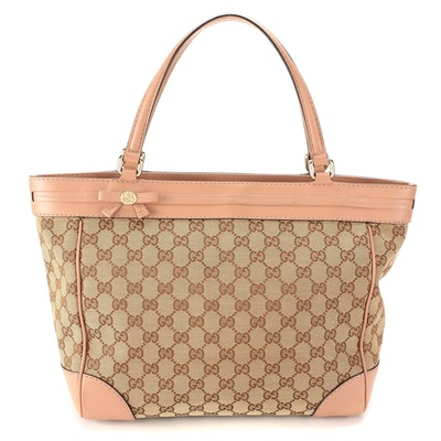 Gucci GG Canvas and Blush Pink Leather Tote