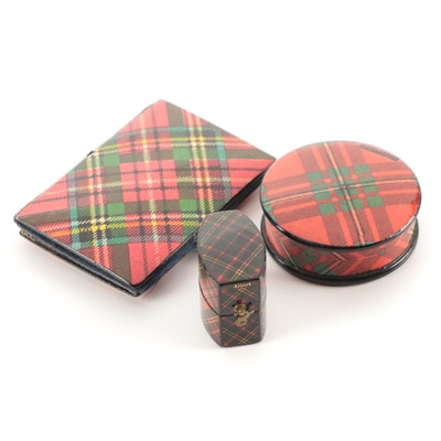 Scottish Mauchline Tartan Ware Needle Case and Boxes, Late 19th Century