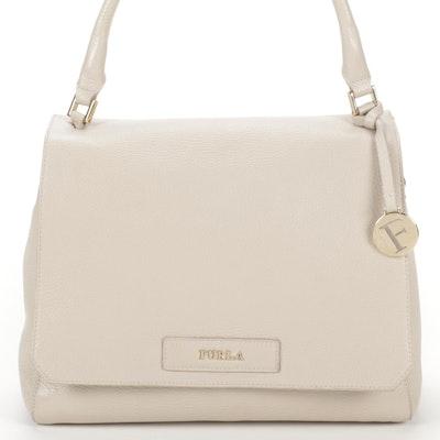 Furla Top Handle Bag in Off-White Pebble Grain Leather