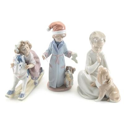 """Lladró """"Faithful Steed"""", """"Dear Santa"""" and """"Boy with Dog"""" Porcelain Figurines"""