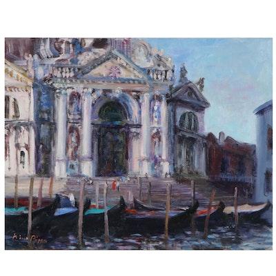 """Nino Pippa Oil Painting """"Venice - S. M. Della Salute,"""" 2018"""