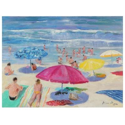 "Nino Pippa Oil Painting ""French Riviera - St. Tropez Beach Scene,"" 21st Century"