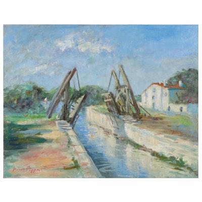 """Nino Pippa Oil Painting """"Van Gogh Bridge in Arles,"""" 2014"""
