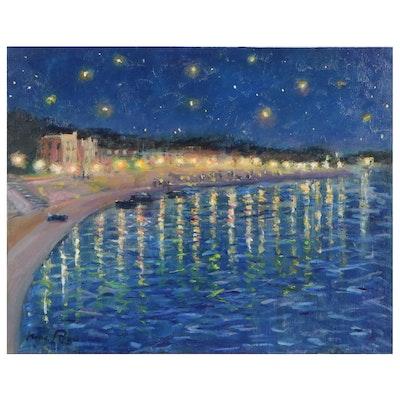 "Nino Pippa Oil Painting ""Remembering Van Gogh,"" 1985"