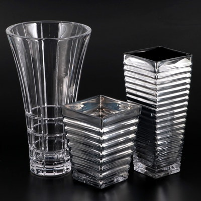"""Mikasa """"Avenue"""" Crystal Vase with Other Glass Vases"""