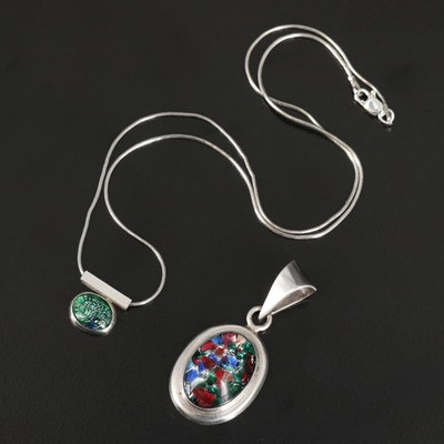 Sterling Art Glass Pendant and Necklace
