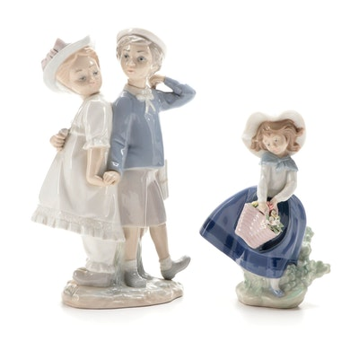 """Lladró """"Puppy Love"""" and """"Pretty Pickings"""" Porcelain Figurines"""