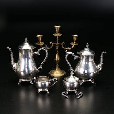 Wm Rogers Silver Tea and Coffee Service with Brass Candelabra