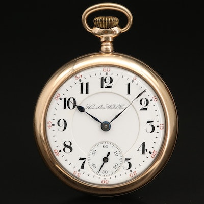 1901 Hamilton Gold Filled Open Face Pocket Watch