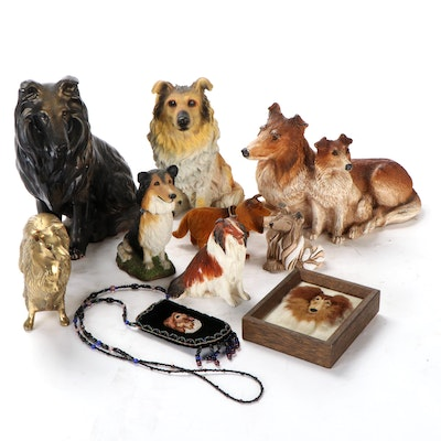 Jane Callender and Other Collie Figurines with Purse and Wall Hanging
