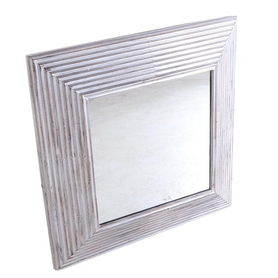 "30"" Square Decorative Bathroom Vanity Mirror in Antique Silver Finish"