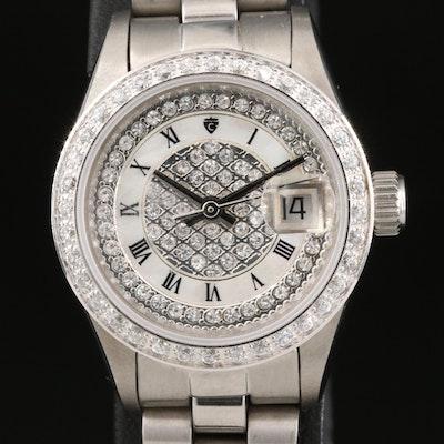 Croton Automatic Cubic Zirconia Set Dial and Bezel Wristwatch