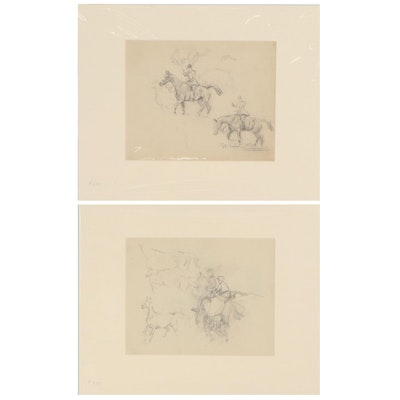 Equestrian Graphite Studies of Horse and Rider