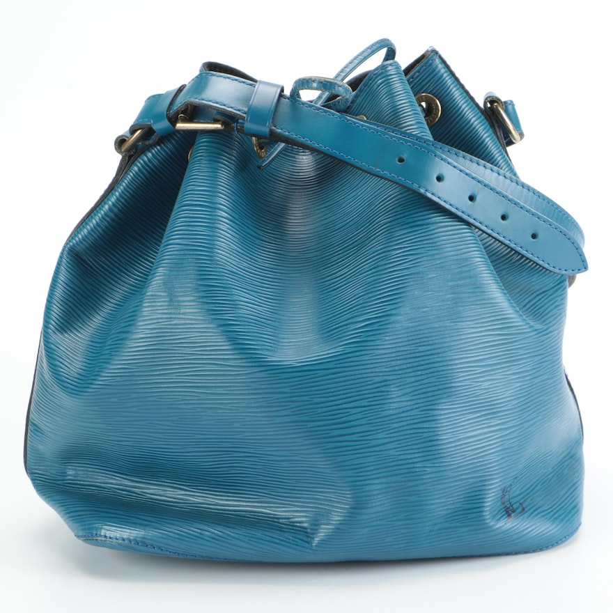 Louis Vuitton Noé Drawstring Bucket Bag in Toledo Blue Epi and Smooth Leather