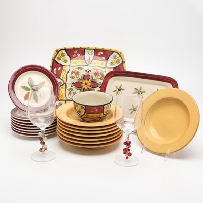 Hartstone Buckeye Motif and Yellow Dish Set With Pair of Wine Glasses