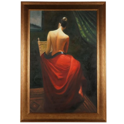 Oil Painting of Seated Figure, 21st Century