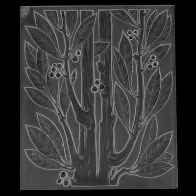 "Lalique ""Lauriers"" Art Deco Crystal Panel"
