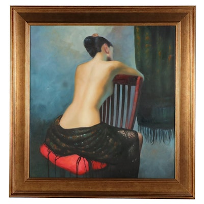 Genre Oil Painting of Figure at Rest, 21st Century