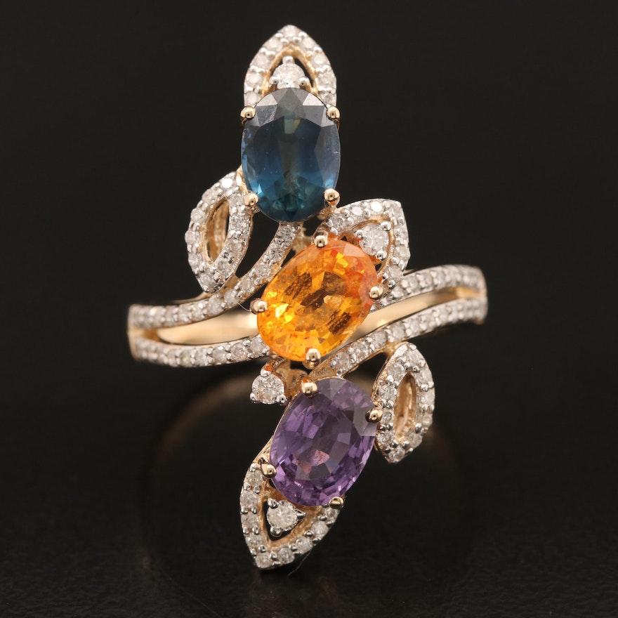 14K 3.10 CTW Sapphire and Diamond Ring