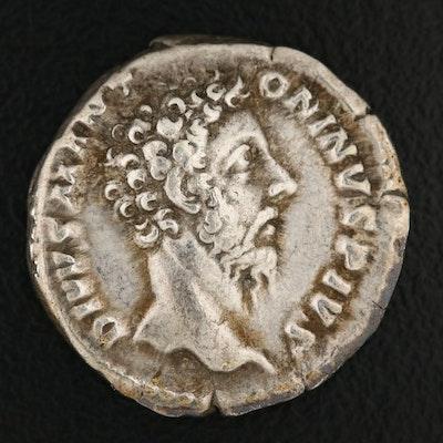 Ancient Roman Imperial AR Denarius of Marcus Aurelius, ca. 180 AD