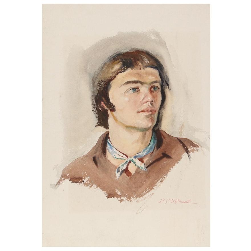 Edmond James Fitzgerald Watercolor Portrait, Mid-20th Century
