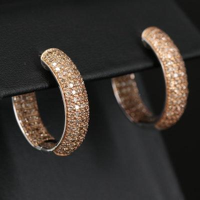 Sterling 1.45 CTW Diamond Inside-Out Hoop Earrings
