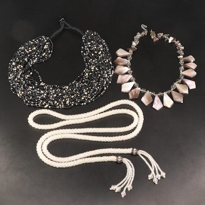 Assorted Mother of Pearl, Glass and Cotton Necklaces
