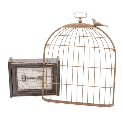 Metal Bird Cage Wall Hanging and Wall-Mounting Key Safe