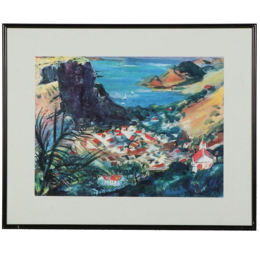 Impressionist Style Coastal Village Offset Lithograph, 1997