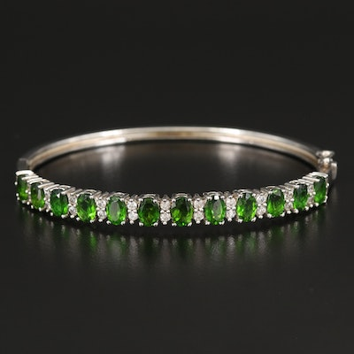 Sterling Diopside and White Zircon Hinged Bangle