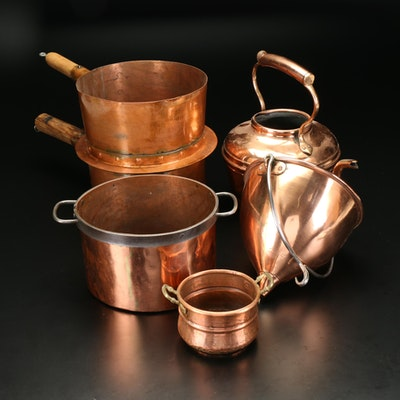 Solid Copper Cookware with Dutch Oven, Teapot, Funnel, Sauce Pan