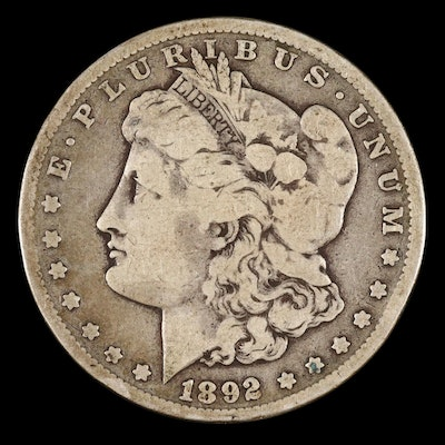 Toned Better Date Lower Mintage 1892-CC Morgan Silver Dollar