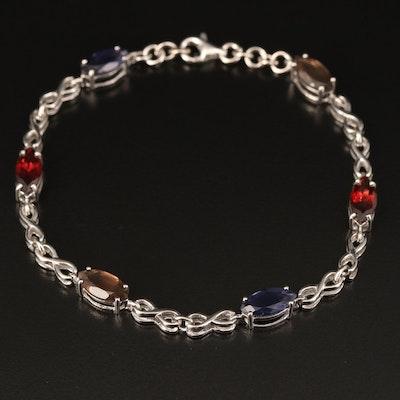 Sterling Iolite, Garnet and Smoky Quartz Infinity Link Bracelet