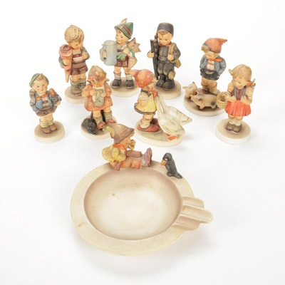 "Goebel ""Singing Lessons"" Ashtray with Porcelain Hummel Figurines"