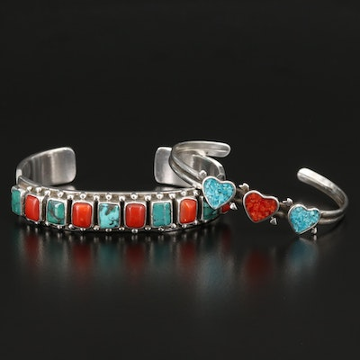 Southwestern Sterling Heart and Signed C. Jones Cuffs with Turquoise and Coral