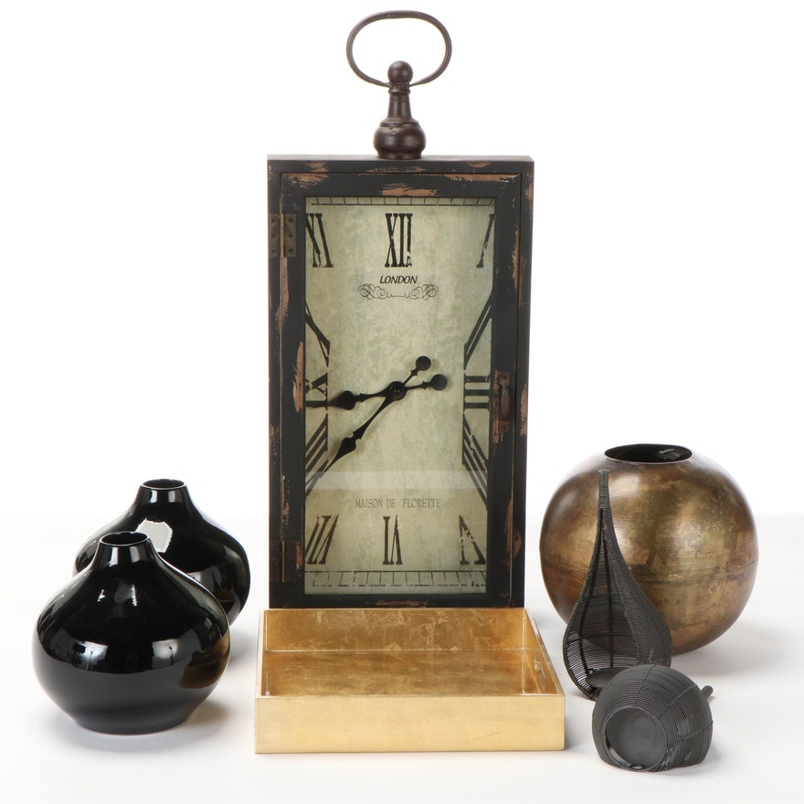 Mercana Wall Clock with West Elm Tray and Other Decor