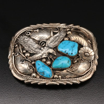 Fred James Navajo Sterling Silver and Turquoise Belt Buckle