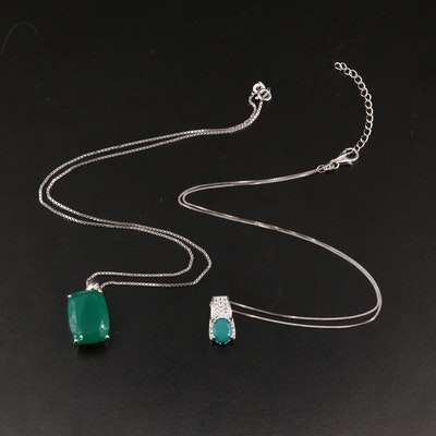 Sterling Silver Green Chalcedony and Topaz Pendant Necklaces