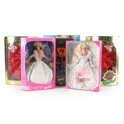Mattel Holiday Barbie Dolls Including Crystal Jubilee and Yuletide Romance