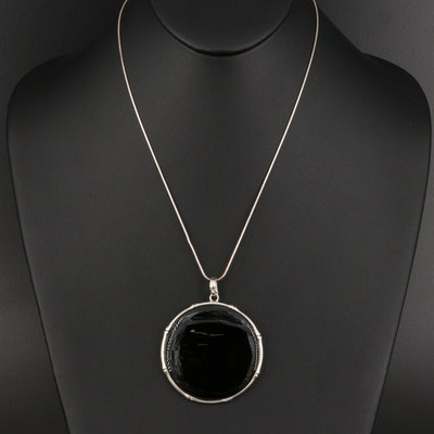 Sterling Silver Black Onyx Circle Pendant Necklace with Bamboo Design