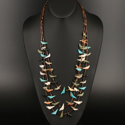 Southwestern Sterling Fetish Necklace Including Agate, Abalone and Turquoise