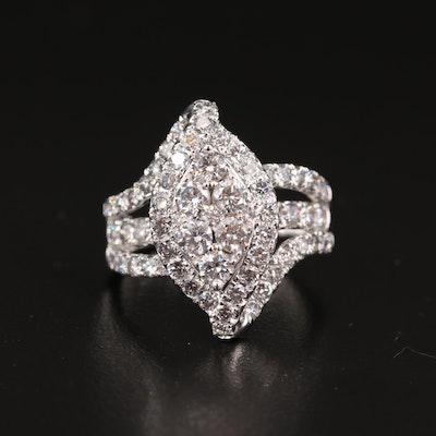14K 3.02 CTW Diamond Navette Cluster Ring